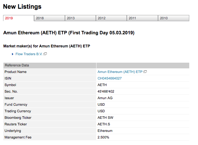 Amun Ethereum (AETH) ETP Lising on SIX Swiss Exchange. Source:  SIX Group