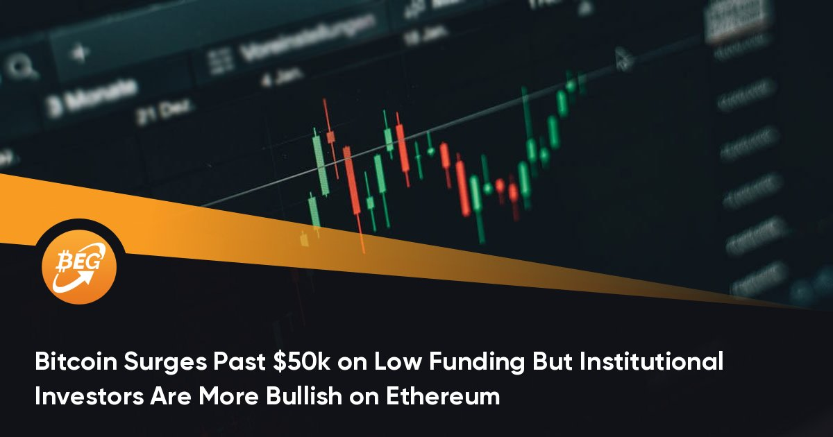Bitcoin Surges Past $50k on Low Funding But Institutional Investors Are More Bullish on Ethereum